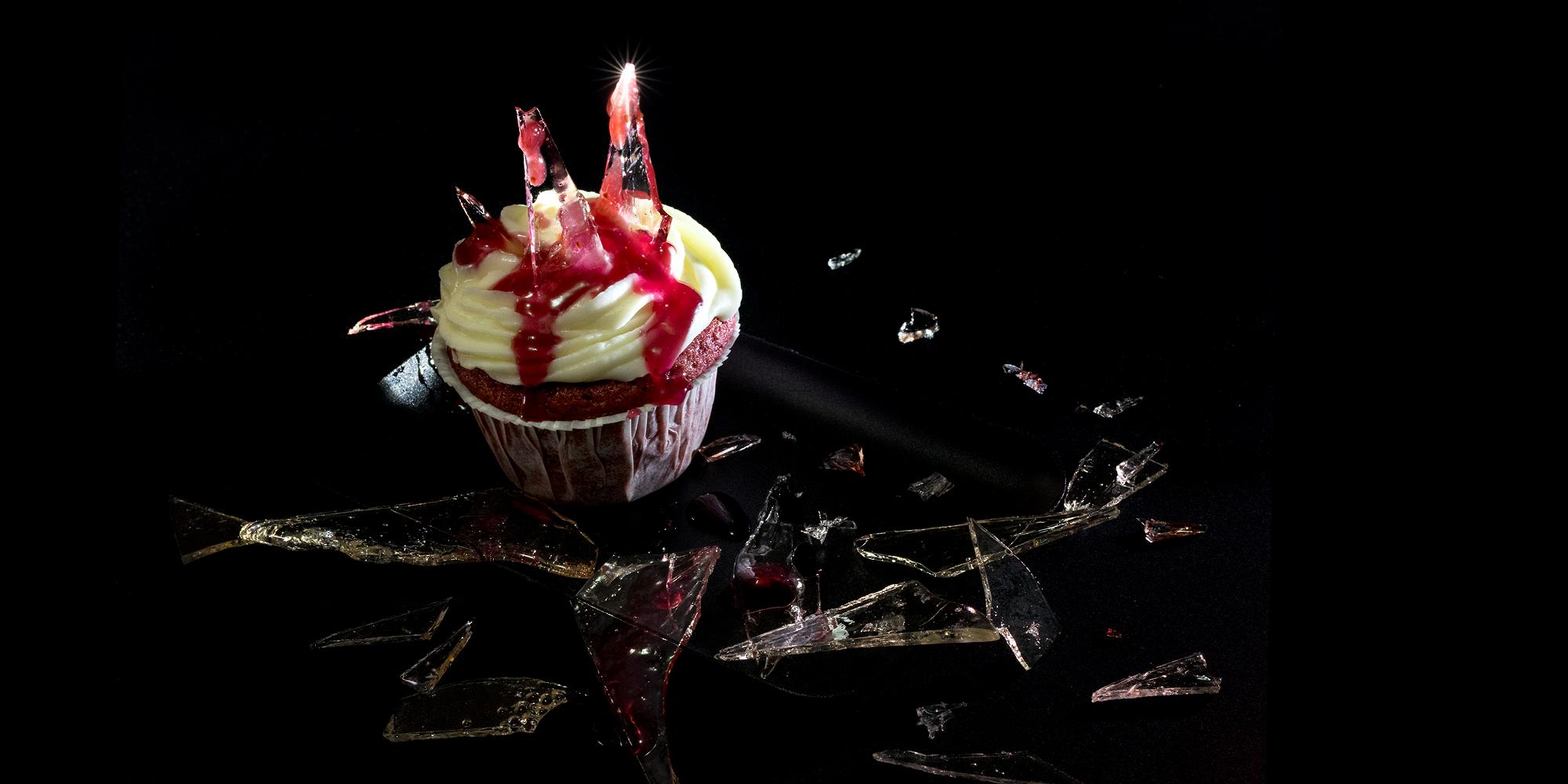 Cupcakes med krossat glas